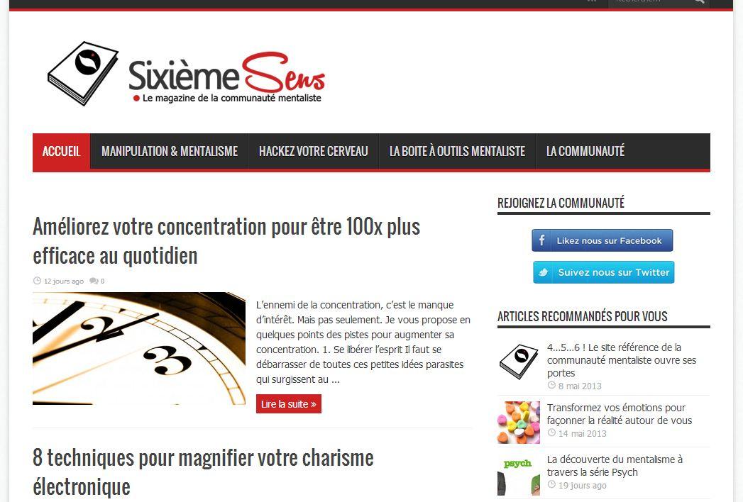 Sixieme Sens, capture d'écran du site